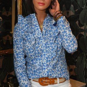 Rochelle Behrens Ruffle Shirt Blue Floral size L